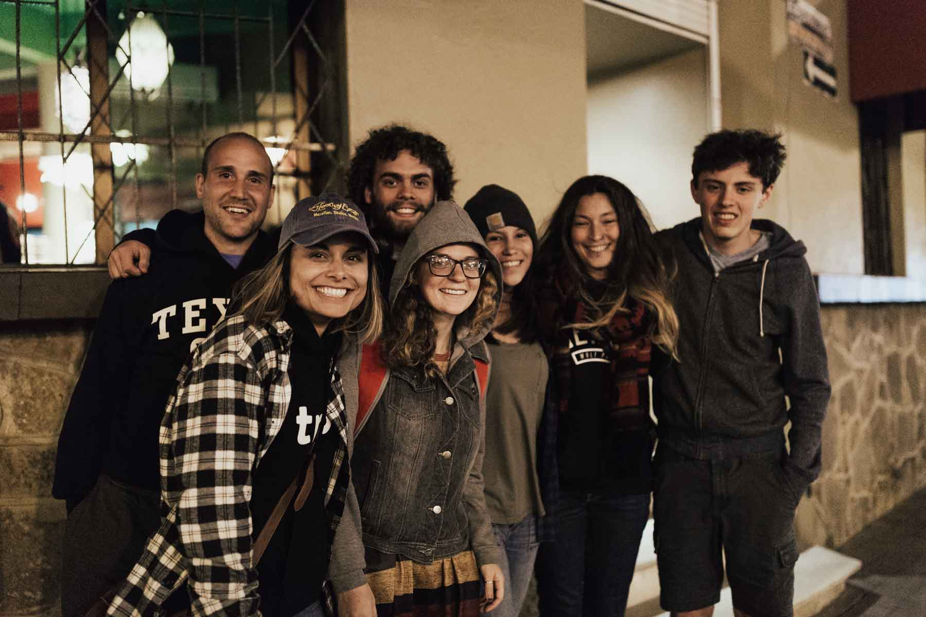 YWAM missionaries smiling outside of café in downtown Mazatlan, Mexico