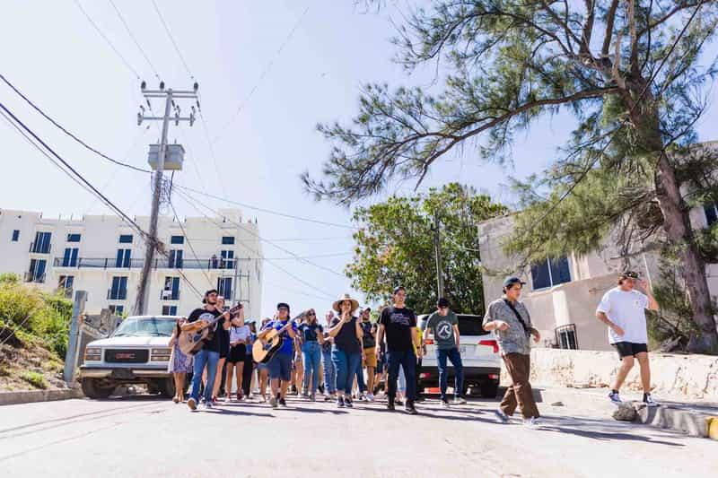 Group of YWAM missionaries beginning a prayer walk on the streets of Mazatlan