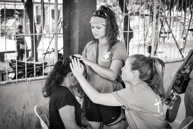 Praying for someone on YWAM DTS outreach